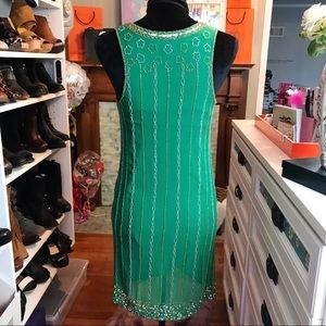 French Connection Dresses - French Connection Beaded Shift Dress Emerald Sz 0
